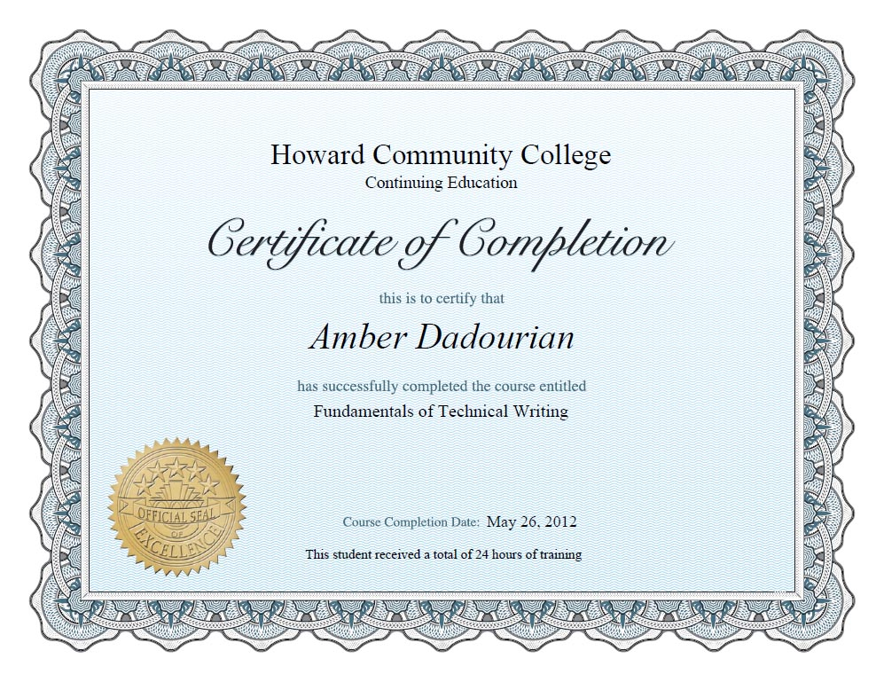 technical writing certificate program The technical writing certificate program will provide you with best practices for creating clear, compelling technical documents this is a hands-on program this is a hands-on program besides completing interactive online course content, you will complete writing assignments and receive personalized feedback on your work.